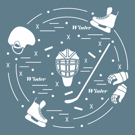 hurl: illustration of various subjects for hockey arranged in a circle. Including icons of helmet, gloves, skates, goalkeeper mask, stick, puck.
