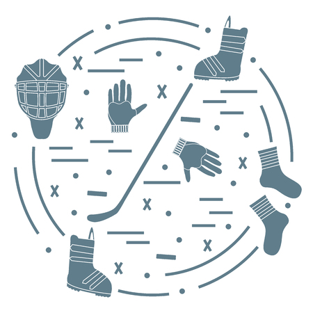 illustration of various subjects for hockey and snowboarding arranged in a circle. Including icons of helmet, gloves, stick, puck, socks, snowboard boots.