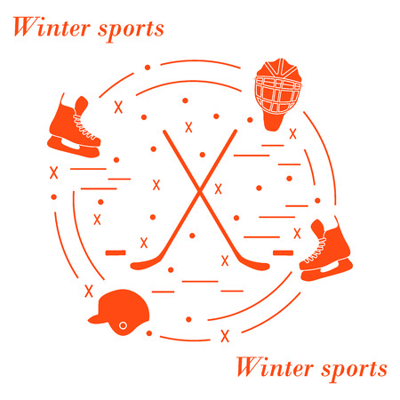 illustration of various subjects for hockey arranged in a circle. Including icons of helmet, skates, goalkeeper mask, hockey stick, puck. Illustration