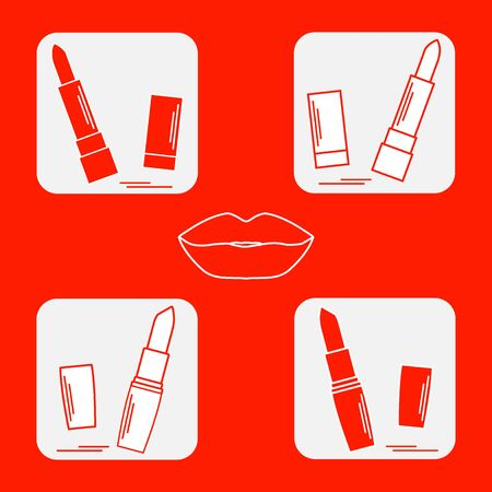 vogue style: illustration with various tubes of  lipstick. Glamour fashion vogue style. Illustration