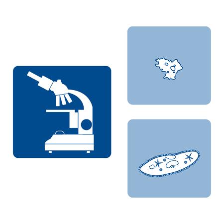 ameba: Stylized icons of microscope, amoeba, ciliate-slipper. Magnifying device sign. Laboratory equipment symbol.  Vectores