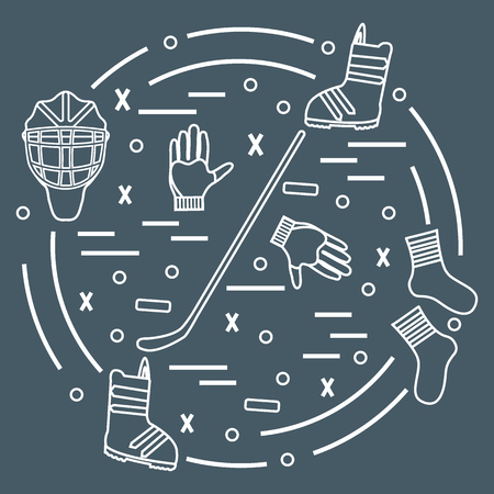 illustration of various subjects for hockey and snowboarding arranged in a circle. Including icons of helmet, gloves, stick, puck, socks, snowboard boots. Winter elements made in line style.