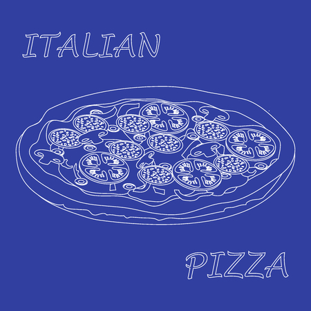 appetizing: Nice illustration of tasty, appetizing pizza with inscriptions on a colored background.
