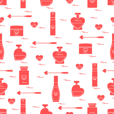 Cute seamless pattern with various accessories for the care of your body and hair: perfume bottles, cream, hair spray and other. Design element for postcard, banner, poster or print. Illustration