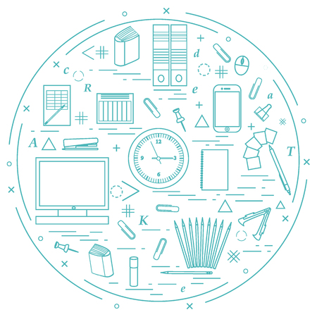 Set of different office objects arranged in a circle. Including icons of paper clips, buttons, pencils, glue, monitor, clock and other on white background.