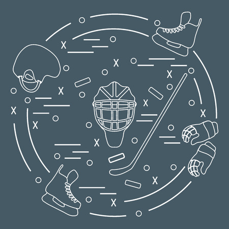 bandy: illustration of various subjects for hockey arranged in a circle. Including icons of helmet, gloves, skates, goalkeeper mask, stick, puck. Winter elements made in line style. Illustration