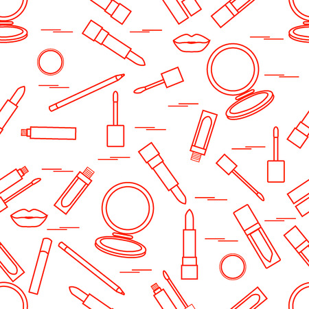 Seamless pattern of different lip make-up tools. illustration of lipsticks, mirror, lip liner, lip gloss and other. Glamour fashion vogue style. Illustration