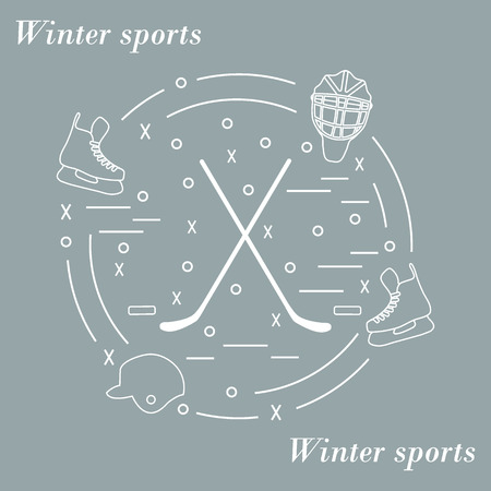 illustration of various subjects for hockey arranged in a circle. Including icons of helmet, skates, goalkeeper mask, stick, puck. Winter elements made in line style.