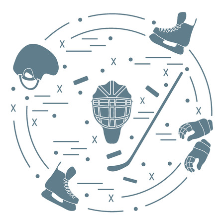brassy: illustration of various subjects for hockey arranged in a circle. Including icons of helmet, gloves, skates, goalkeeper mask, stick, puck.