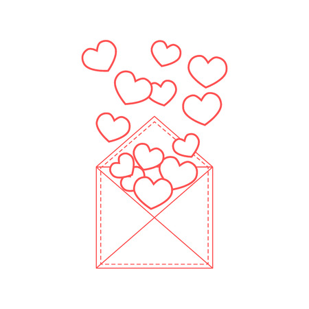 Cute illustration of postal envelope with hearts. Design for banner, poster or print. Greeting card Valentines Day.