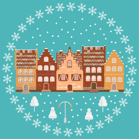 illustration houses in the snow. Design element for postcard, banner or print. Christmas card. Illustration
