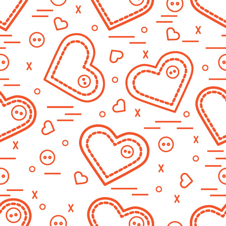 Cute seamless pattern with needle cases and buttons. Greeting card Valentine%u2019s Day. Design for banner, poster or print.
