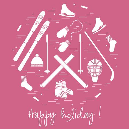 Vector Illustration von verschiedenen Elementen der Sportausrüstung und der Kleidung für Wintersport, der in einem circl vereinbart wird. Für Postkarte, Einladung, Banner, Flyer oder andere Polygrafie und Design.