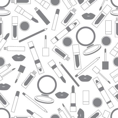 pomade: Seamless pattern of different lip make-up tools. Vector illustration of lipsticks, mirror, lip liner, lip gloss, lip. Glamour fashion vogue style. Illustration