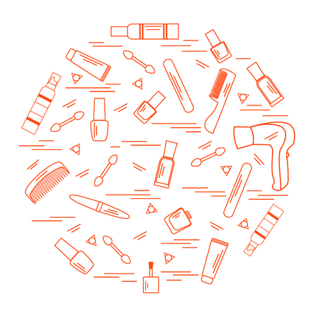 Vector illustration various accessories for the care of your body arranged in a circle: hairdryer, comb, cream, nail polish and other. Design element for postcard, banner, flyer, poster or print.