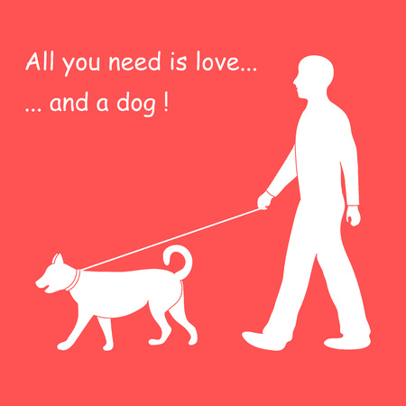 Silhouette of a man walking a dog on a leash. Label for pet shop. Design element for postcard, banner, flyer.