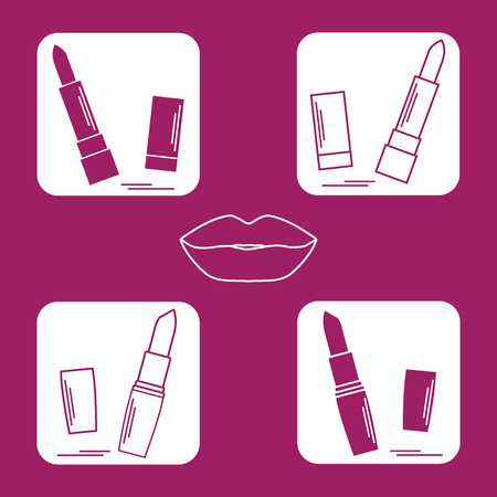 smudged: Vector illustration with various tubes of  lipstick. Glamour fashion vogue style. Illustration
