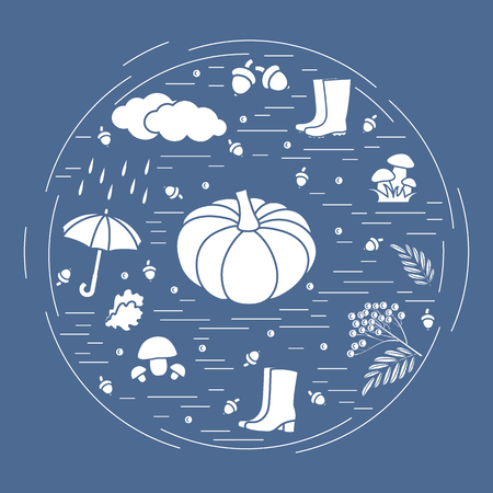 Vector illustration of different autumn seasonal symbols arranged in a circle.