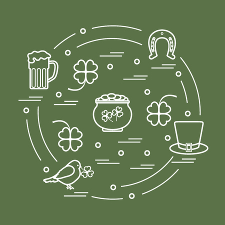 Cute vector illustration with different symbols for St. Patricks Day arranged in a circle. Design for banner, poster or print.