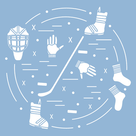 bandy: Vector illustration of various subjects for hockey and snowboarding arranged in a circle. Including icons of helmet, gloves, stick, puck, socks, snowboard boots.