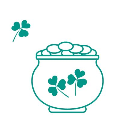 boiler: Cute vector illustration with pot with gold coins for St. Patricks Day. Design for banner, poster or print.