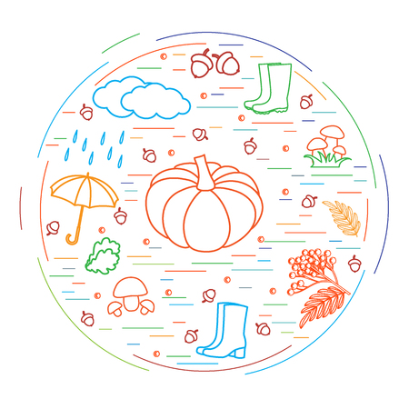 rowanberry: Vector illustration of different autumn seasonal symbols arranged in a circle. Autumn elements made in line style.