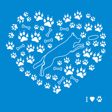 dog walking: Nice picture of jumping dog silhouette on a background of dog tracks and bones in the form of heart on a colored background. Illustration