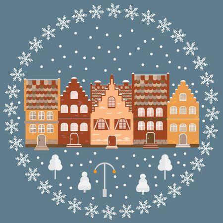 Vector illustration houses in the snow. Design element for postcard, banner, flyer or print. Christmas card. Illustration