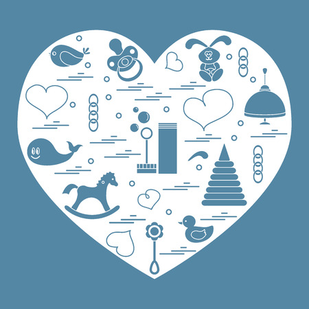 Vector illustration kids elements arranged in a heart: bird, whale, pacifier, bubbles, pyramid, beanbag, rabbit, duck and other. Design element for postcard, banner, flyer, poster or print.