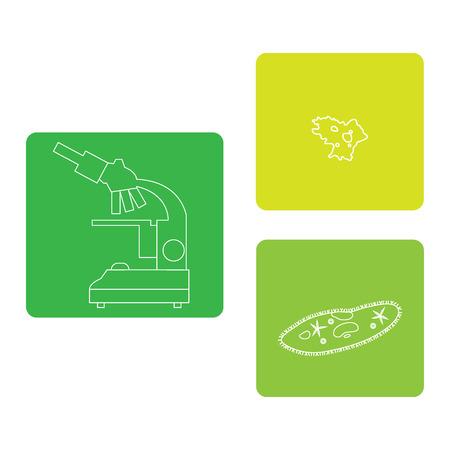 protista: Stylized icons of microscope, amoeba, ciliate-slipper. Magnifying device sign. Laboratory equipment symbol.