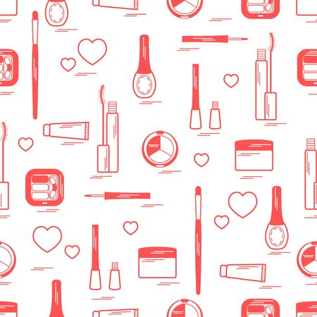 Cute pattern of  various elements of decorative cosmetics and care products for face and body. Design element for print. Illustration