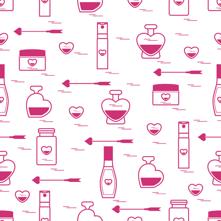 eau de perfume: Cute seamless pattern with various accessories for the care of your body and hair: perfume bottles, cream, hair spray and other. Design element for postcard, banner, flyer, poster or print.