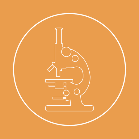 Stylized vector icon of microscope. Magnifying device sign. Laboratory equipment symbol.
