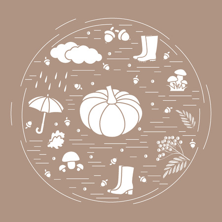 Illustration of different autumn seasonal symbols arranged in a circle.