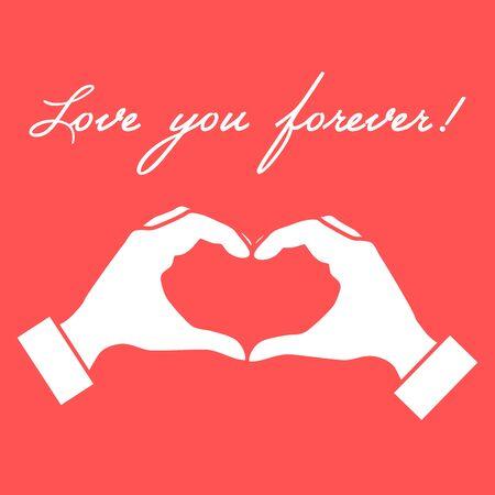 Cute vector illustration: hand making a heart shape. Love symbol. Design for banner, flyer, poster or print. Illustration