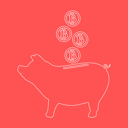Stylized icon of a piggy bank with bitcoins. Design for banner, poster or print. Illustration