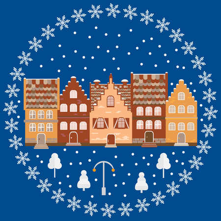 Illustration houses in the snow. Design element for postcard, banner, flyer or print. Christmas card.