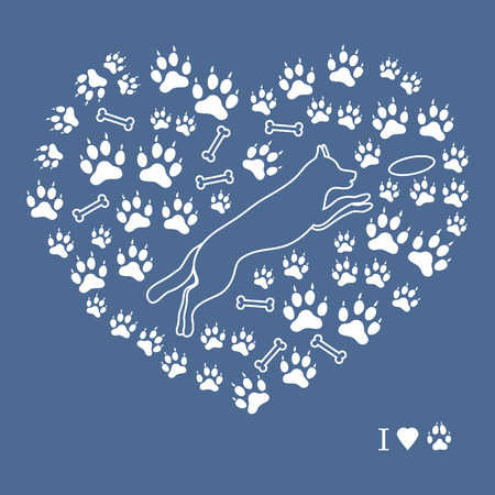 Nice picture of jumping dog silhouette on a background of dog tracks and bones in the form of heart on a colored background. Illustration