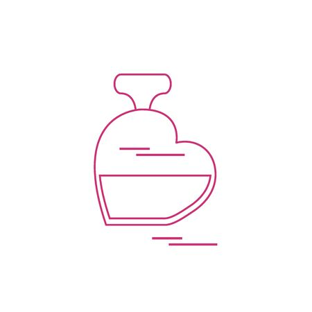 eau de perfume: Cute vector illustration of perfume bottle in the shape of heart. Design for banner, flyer, poster or print. Greeting card Valentine's Day.