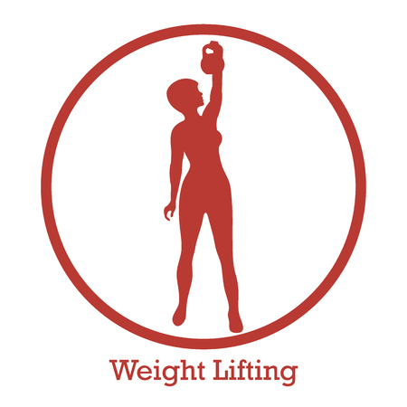 Stylized icon of fitness sport athletic woman holds kettlebell. Training female body. Design for banner, poster or print. Illustration
