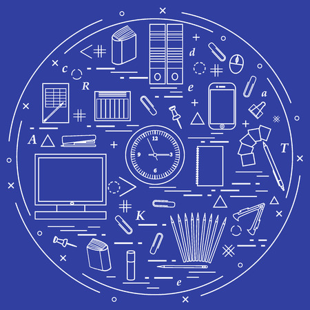 Set of different office objects arranged in a circle. Including icons of paper clips, buttons, pencils, glue, monitor, clock and other. Illustration