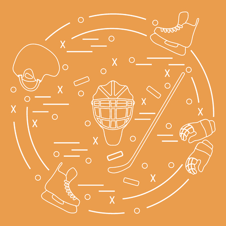 bandy: Colorful design of a Vector illustration of various subjects for hockey arranged in a circle. Including icons of helmet, gloves, skates, goalkeeper mask, stick, puck. Winter elements made in line style. Illustration