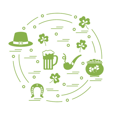 patrick's: Cute vector illustration with different symbols for St. Patricks Day arranged in a circle. Design for banner, poster or print.