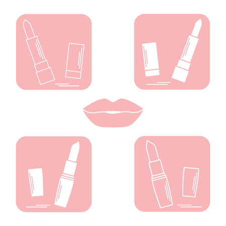 pomade: Colorful design of an illustration with various tubes of  lipstick. Glamour fashion vogue style.