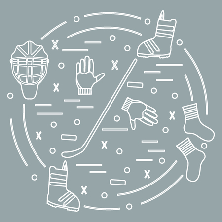 Illustration of various subjects for hockey and snowboarding arranged in a circle.