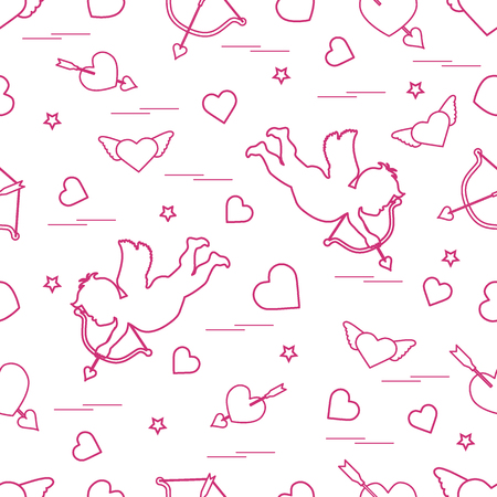 Pattern with cupid shoots a bow and hearts. Love symbol. Design for banner, poster or print.