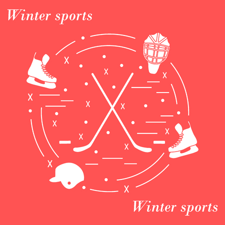 Illustration of various subjects for hockey arranged in a circle. Including icons of helmet, skates, goalkeeper mask, hockey stick, puck.