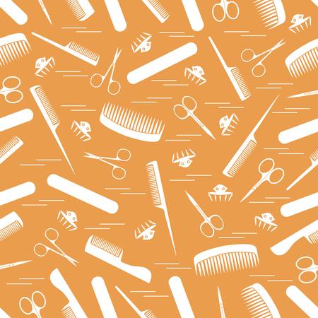 Leuk patroon van schaar voor manicure en pedicure, kammen, nagelvijl, haarspeldjes. Ontwerp voor banner, flyer, poster of print.