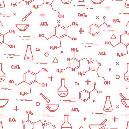 Illustration artistique d'un modèle avec la variété scientifique, éléments d'éducation: flacon, formule, pilon et autre. Conception pour la bannière, l'affiche ou l'impression.
