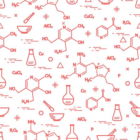 Artistic illustration of a pattern with variety scientific, education elements: flask, formula, pestle and other. Design for banner, poster or print. Illustration